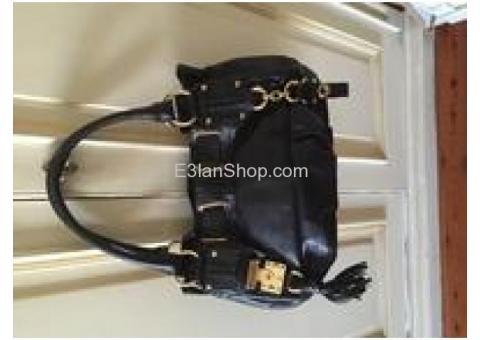 Black leather branded bag
